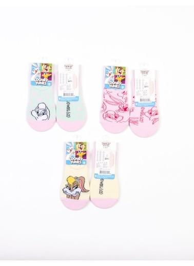 Looney Tunes  Lisanslı 6 Çift Çocuk Sneakers Çorap 18226 Pembe